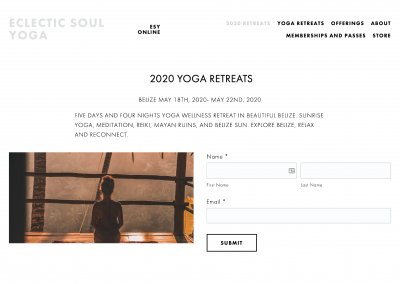 Eclectic Soul Yoga Homepage Screen