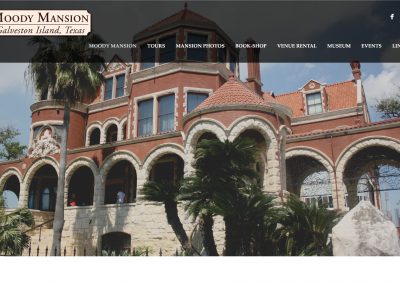 Moody Mansion Homepage Screen